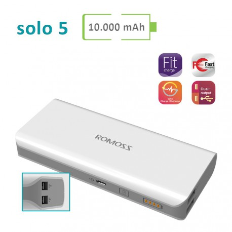 Power Bank Romoss - Solo 5 - 10000 mAh
