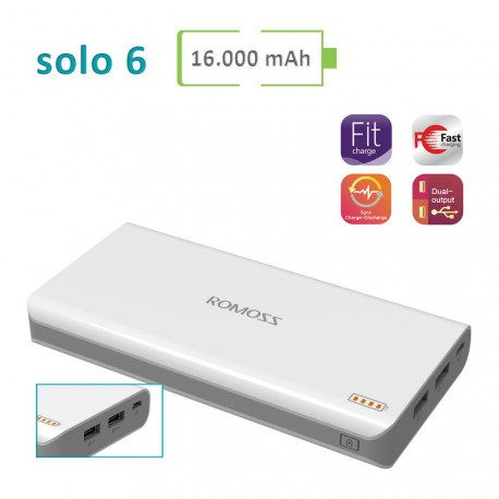 Power Bank Romoss - Solo 6 - 16000 mAh