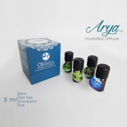 Arya HD - Pack Oli Organique - Set 4 oli essenziali da 5 ml 100% Made in Thailand (AROMI ORGANICI). (BLU)